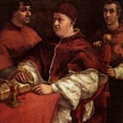Raphael Pope Leo X With Cardinals Giulio De  Medici And Luigi De  Rossi Poster