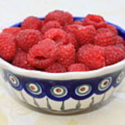 Raspberries In Polish Pottery Bowl  Poster