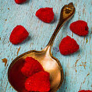 Raspberries With Antique Spoon Poster