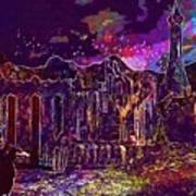 Raven Castle Ruin Trees Sky  Poster