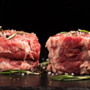 Raw Steak Meat On The Dark Surface Poster