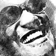 Ray Charles scribbles bw portrait Poster