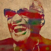 Ray Charles Watercolor Portrait On Worn Distressed Canvas Poster