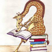 Reading Giraffe Poster