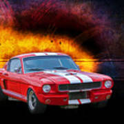 Red 1966 Mustang Fastback Poster