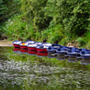 Red And Blue Boats On The River Coquet Poster