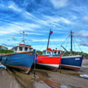 Red And Blue Fishing Boats Tenby Port Poster