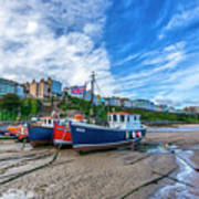 Red And Blue Fishing Trawler In Low Tide Poster