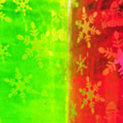 Red And Green With A Snowflake Pattern Poster