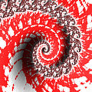 Red And White Fractal Poster