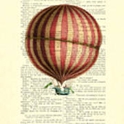 Red And White Striped Hot Air Balloon Antique Photo Poster