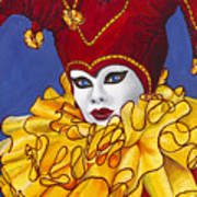 Red And Yellow Carnival Jester Poster