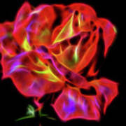 Red And Yellow Rose Fractal Poster