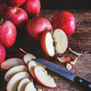 Red Apple Slices Poster
