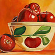 Red Apples In Vintage Watt Yellowware Bowl Poster