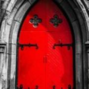 Red Arched Door Poster