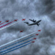 Red Arrows And A400m Airbus Poster