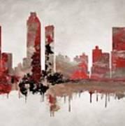Red Atlanta Georgia Skyline Poster