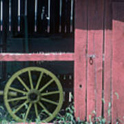 Red Barn And Wagon Wheel Poster