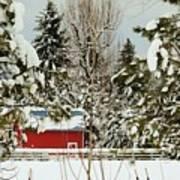 Red Barn At Christmas Poster