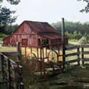 Red Barn At Sunrise Poster by Cynara Shelton