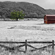Red Barn In Pasture Poster