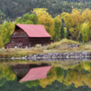 Red Barn Reflections Poster