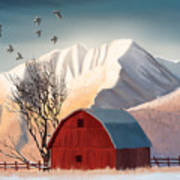 Red Barn Snow Western - Countryside Painting Poster