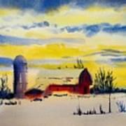 Red Barn Sunrise Poster