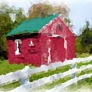 Red Barn Vermont Watercolor Poster
