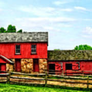 Red Barn With Fence Poster