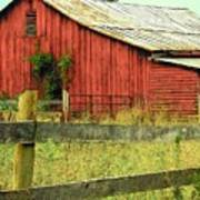 Red Barn With Vines Poster