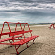 Red Bench On A Beach Poster