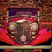 Red Bentley Convertible Poster