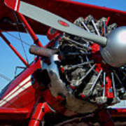 Red Biplane Poster