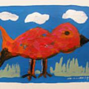 Red Bird In Grass Poster