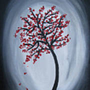 Red Black Tree Painting Poster