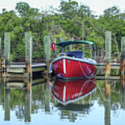 Red Boat Docked Florida Poster