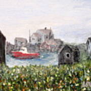Red Boat In Peggys Cove Nova Scotia  Poster