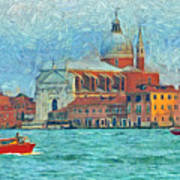 Red Boat Venice Poster