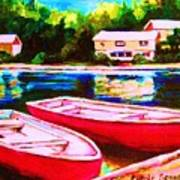 Red Boats At The Lake Poster