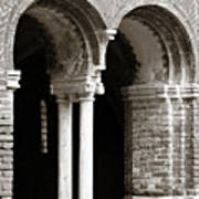 Red Brick Arches Black White Poster