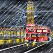 Red bus in London Night Rain Poster