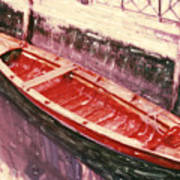 Red Canoe Poster by Linda Scharck