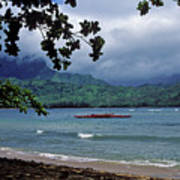 Red Canoe On Hanalei Bay Poster by Kathy Yates