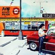 Red Car At The A And W Poster