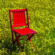 Red Chair Amoung Wildflowers Poster