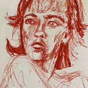 Red Charcoal Sketch 6481 Poster