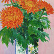 Red Chrysanthemums Poster