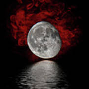 Red Cloud With Moon Over Water Poster